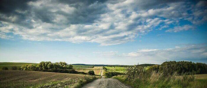 Blick auf eine Landstraße