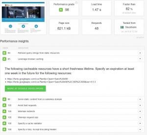 Ergebnis des Speedtests für Plambee.de auf Pingdom