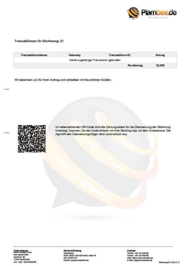 Whmcs Pdf Rechnungsvorlage Plambeede Webhosting