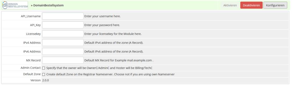 Einstellungen für das WHMCS Domain-Bestellsystem Modul